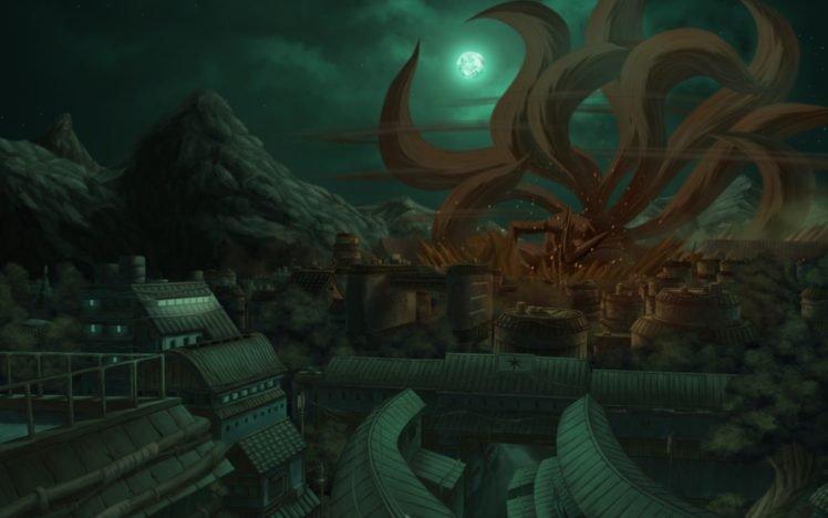 Konoha, Moon, Village, Kyuubi, Destruction HD Wallpaper Desktop Background