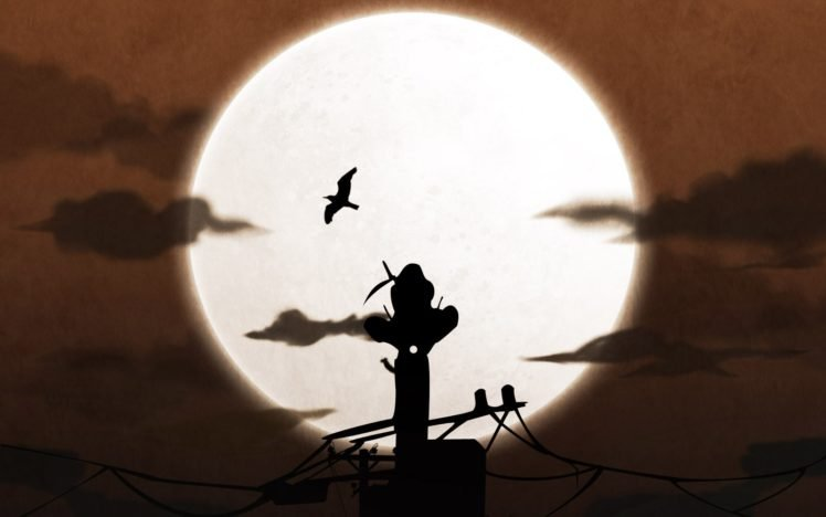 Uchiha Itachi, Silhouette, Moon HD Wallpaper Desktop Background