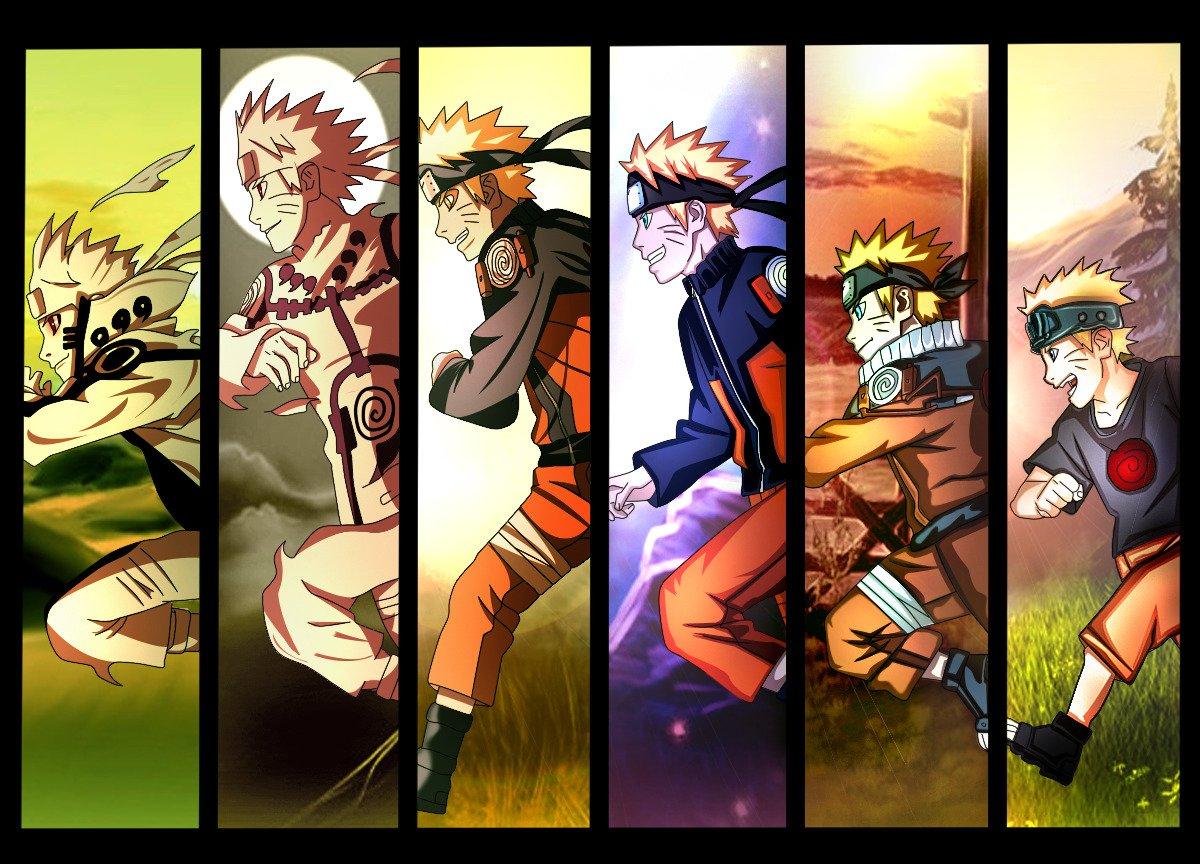 104472 Uzumaki Naruto time anime boys evolution running panels