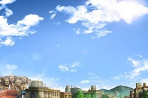 Konoha, Village, Rooftops, Clouds, Anime