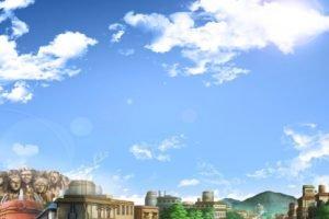 Konoha, Village, Rooftops, Clouds, Anime