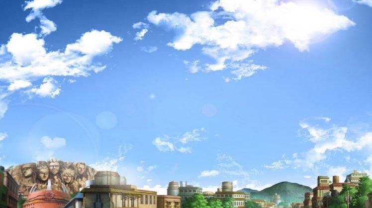 Konoha Village Rooftops Clouds Anime Hd Wallpaper Desktop Background