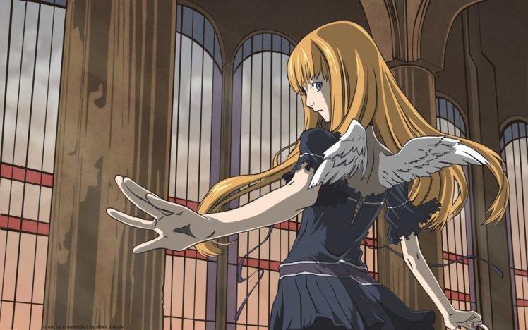 anime girls, Wings, Blonde, Dogs: Bullets  Carnage HD Wallpaper Desktop Background