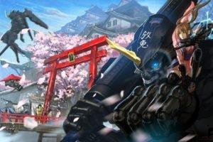 original characters, Samurai, Robot, Mech, Cherry blossom