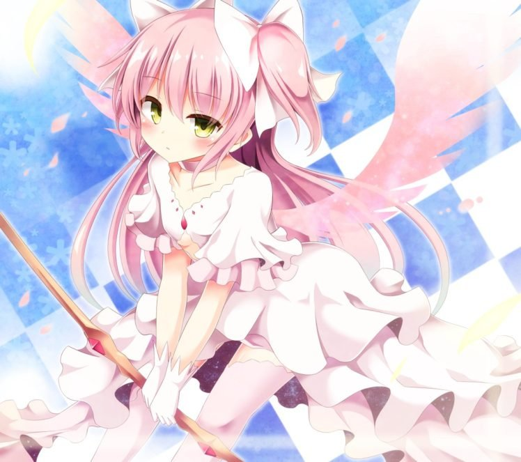 Mahou Shoujo Madoka Magica, Kaname Madoka, Wings, Anime, Anime girls, Petals HD Wallpaper Desktop Background