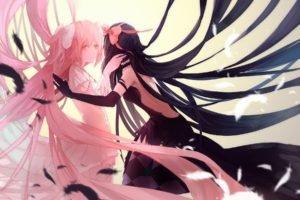 Mahou Shoujo Madoka Magica, Kaname Madoka, Akemi Homura, Feathers, Anime, Anime girls