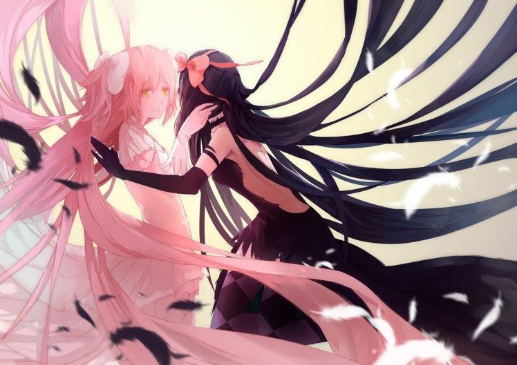 Mahou Shoujo Madoka Magica, Kaname Madoka, Akemi Homura, Feathers, Anime, Anime girls HD Wallpaper Desktop Background