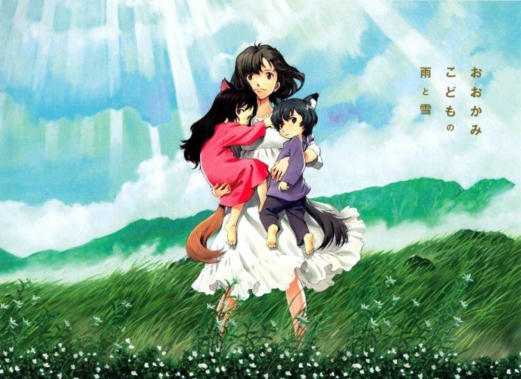 Wolf Children, Sunlight, Flowers, Anime HD Wallpaper Desktop Background