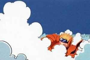 Naruto Shippuuden, Kyuubi, Uzumaki Naruto, Clouds, Minimalism, Blue eyes, Sleeping, Animals, Fox