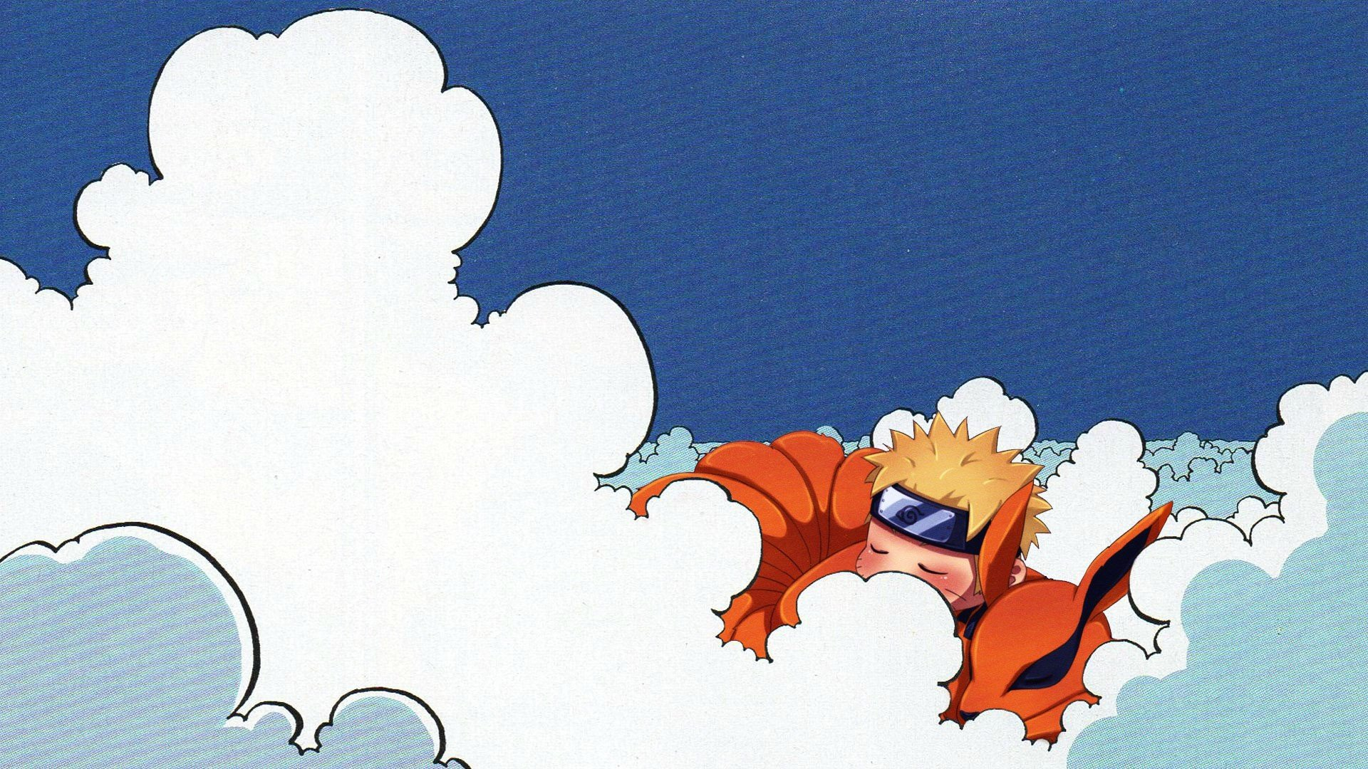 Naruto Shippuuden, Kyuubi, Uzumaki Naruto, Clouds, Minimalism, Blue eyes, Sleeping, Animals, Fox Wallpaper