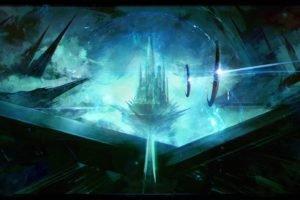 artwork, Fantasy art, Digital art, City, Futuristic, Spaceship, Fortress