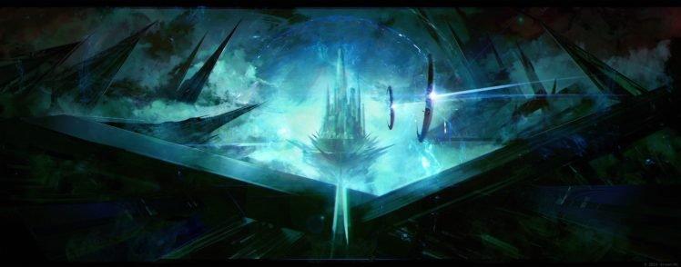 artwork, Fantasy art, Digital art, City, Futuristic, Spaceship, Fortress HD Wallpaper Desktop Background