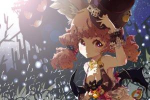 artwork, Fantasy art, Anime girls, Top hat, Halloween, Redhead