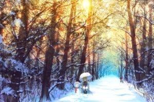 Yakumo Yukari, Touhou, Snow, Winter, Umbrella, Trees