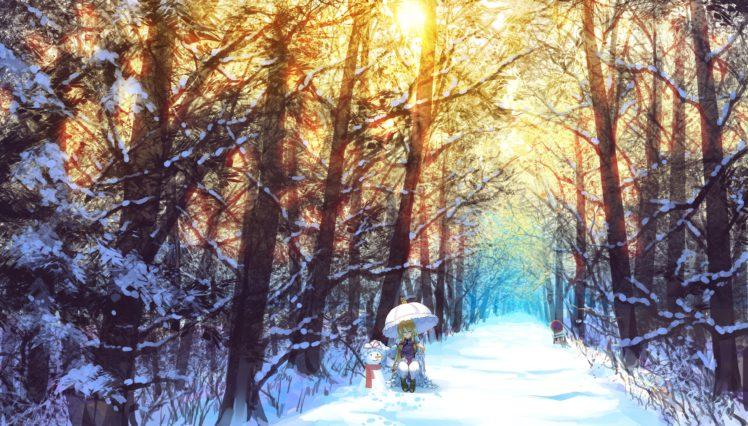 Yakumo Yukari, Touhou, Snow, Winter, Umbrella, Trees HD Wallpaper Desktop Background