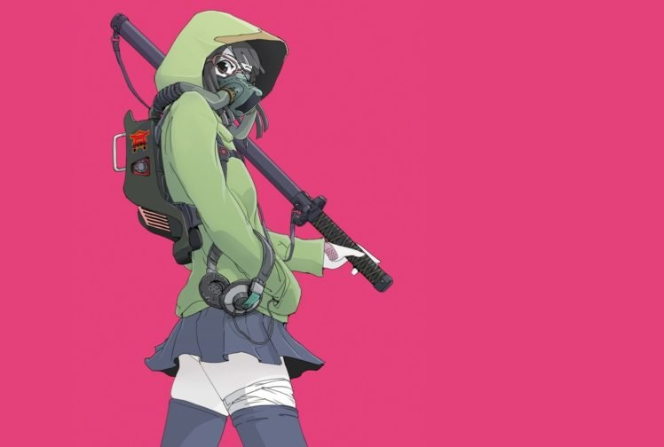 anime girls, Anime, Original characters, Gas masks, Glasses HD Wallpaper Desktop Background