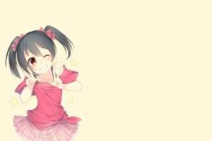 anime, Anime girls, Simple background, Love Live!, Yazawa Nico, Twintails