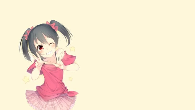 anime, Anime girls, Simple background, Love Live!, Yazawa Nico, Twintails HD Wallpaper Desktop Background