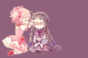 anime, Anime girls, Simple background, Mahou Shoujo Madoka Magica, Akemi Homura, Kaname Madoka, Crying