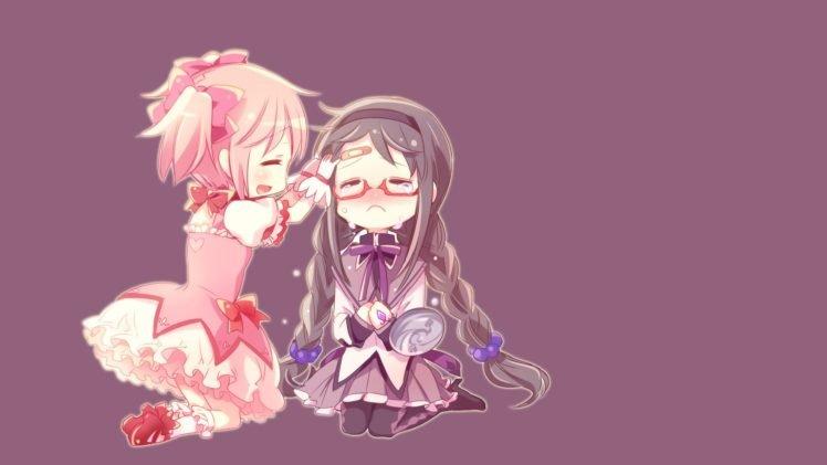 anime, Anime girls, Simple background, Mahou Shoujo Madoka Magica, Akemi Homura, Kaname Madoka, Crying HD Wallpaper Desktop Background