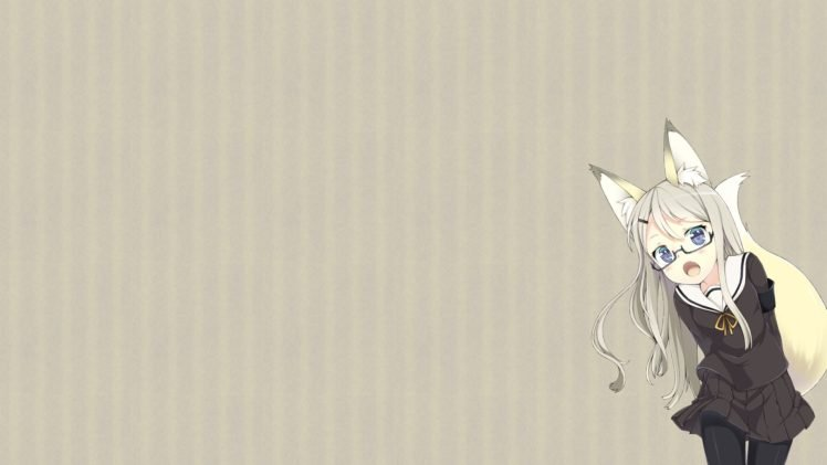 anime, Anime girls, Simple background, Original characters, Inumimi, Animal ears, Glasses, School uniform, Pantyhose, Meganekko HD Wallpaper Desktop Background