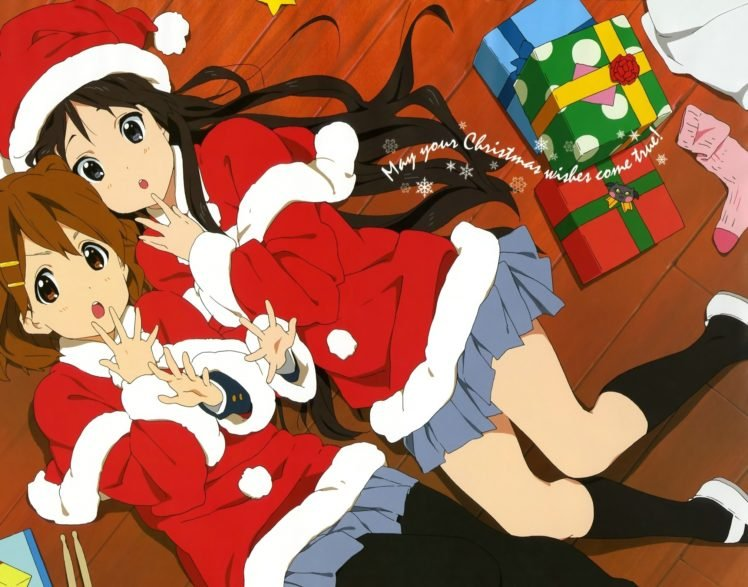 K ON!, Hirasawa Yui, Akiyama Mio, Anime, Anime girls, Christmas HD Wallpaper Desktop Background