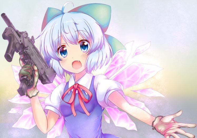 anime, Anime girls, Gun, Touhou, Cirno, Open mouth HD Wallpaper Desktop Background