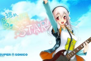 anime, Anime girls, Super Sonico, Red eyes, Pink hair, Guitar