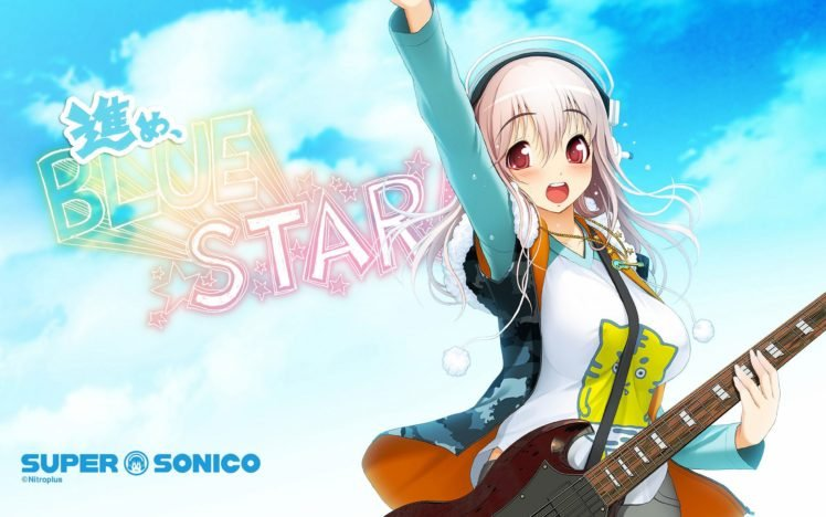 Anime Girls Super Sonico Red Eyes Pink Hair Guitar HD
