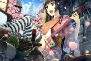 anime girls, Black hair, Headphones, Guitar, Thigh highs, Traditional clothing, Kimono, Original characters