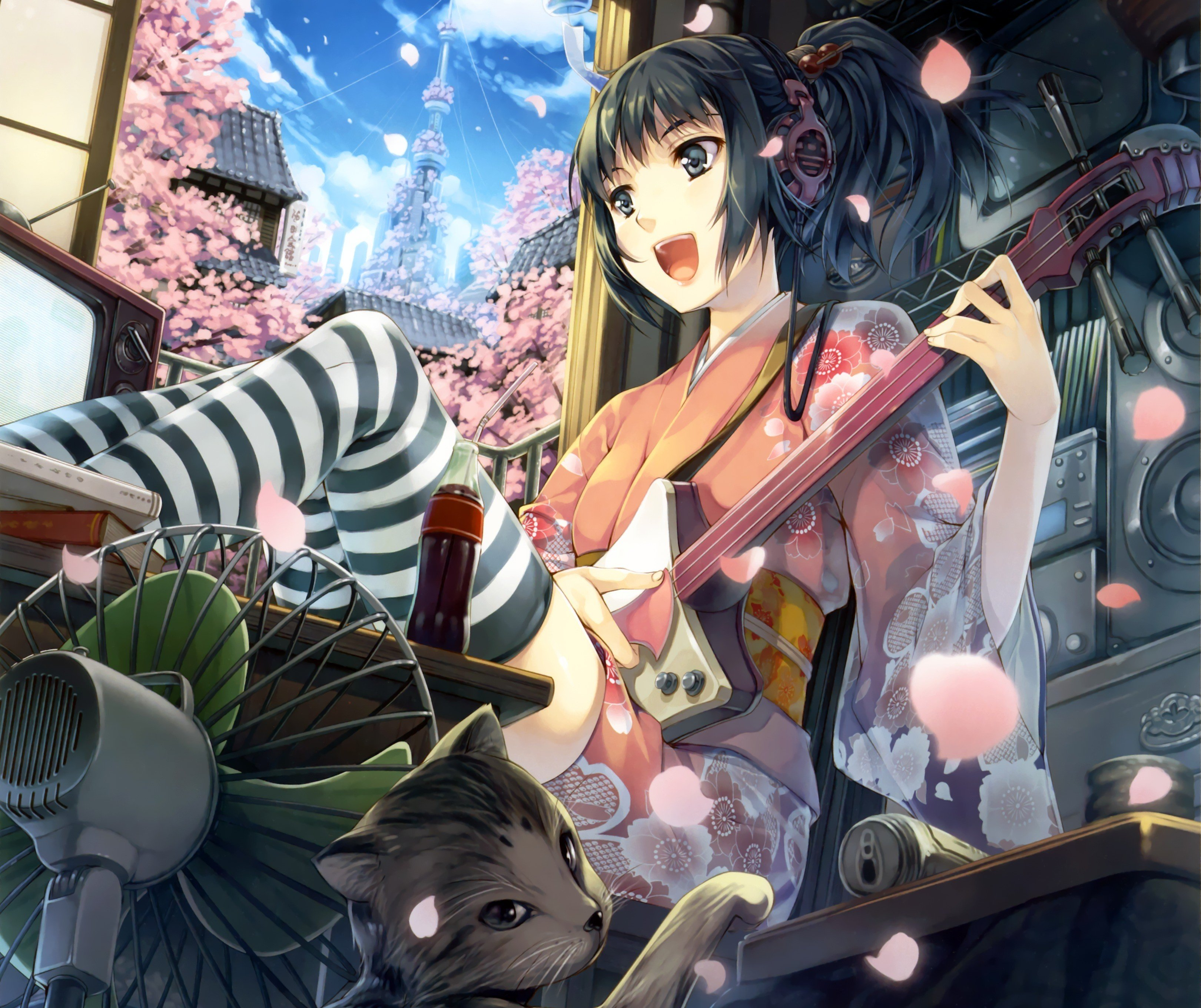 Anime Girls Black Hair Headphones Guitar Thigh Highs