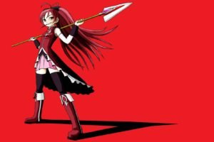 anime girls, Anime, Red background, Mahou Shoujo Madoka Magica, Sakura Kyouko