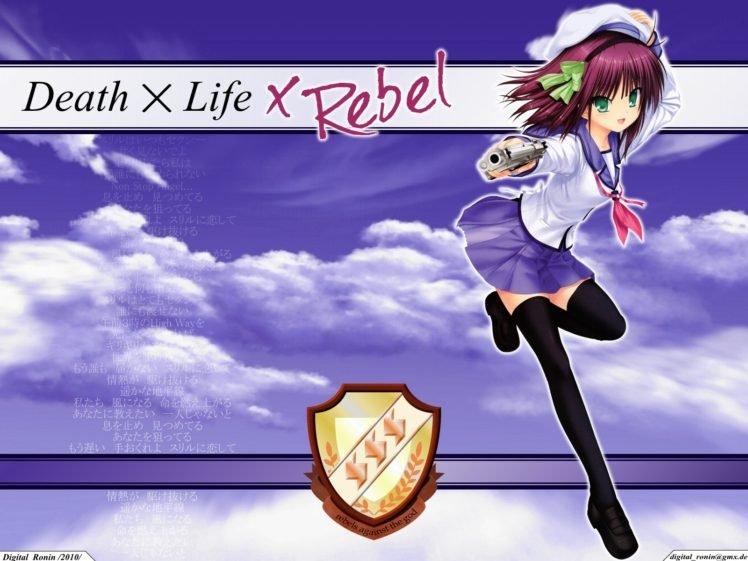 Angel Beats!, Anime girls, Nakamura Yuri, School uniform, Pink hair, Sky, Logo HD Wallpaper Desktop Background
