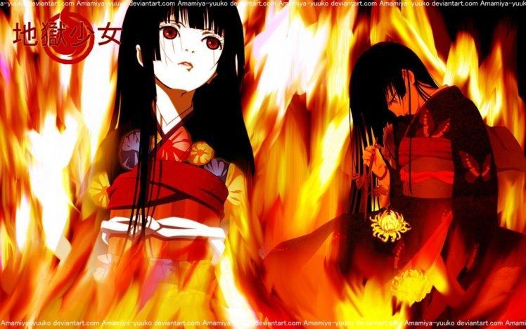 Jigoku Shoujo, Anime girls, Black hair, Kimono, Fire, Logo, Long hair, Flowers HD Wallpaper Desktop Background