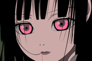 Jigoku Shoujo, Anime girls, Black hair, Pink eyes, Dark hair, Closed