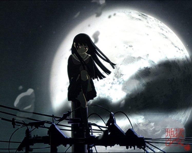 Jigoku Shoujo, Anime girls, Black hair, Moon, Long hair, School uniform, Night HD Wallpaper Desktop Background