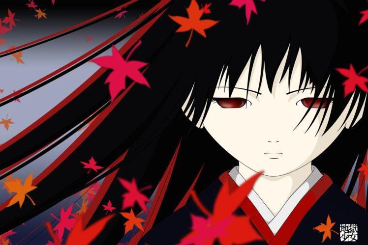 Jigoku Shoujo Anime Girls Black Hair Red Eyes Long Hair Dark Hair Sheet Kimono Hd Wallpapers Desktop And Mobile Images Photos