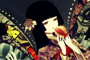 Jigoku Shoujo, Anime girls, Black hair, Long hair, Balloons, Flowers