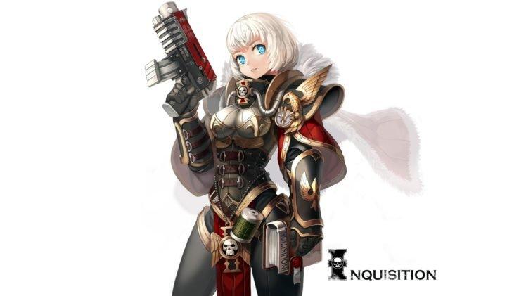 Warhammer 40, 000, Sisters of Battle, White hair, Blue eyes HD Wallpaper Desktop Background