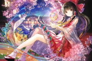 Touhou, Hakurei Reimu, Trees, Petals, Water, Sky, Anime girls, Anime, Cherry blossom