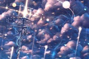 sky, Clouds, Lightning, Rain, Original characters, Anime, Anime girls