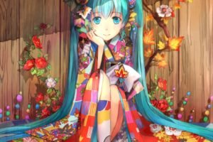 Vocaloid, Hatsune Miku, Flowers, Petals, Traditional clothing, Anime girls, Anime, Kimono
