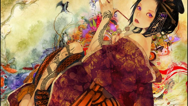 Anime Anime Girls Yakuza Digital Art Geisha Kimono Tattoo Hd