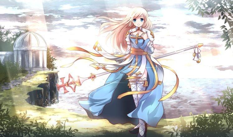 anime, Anime girls, Original characters, Blonde, Long hair, Blue eyes, Thigh highs, Clouds HD Wallpaper Desktop Background