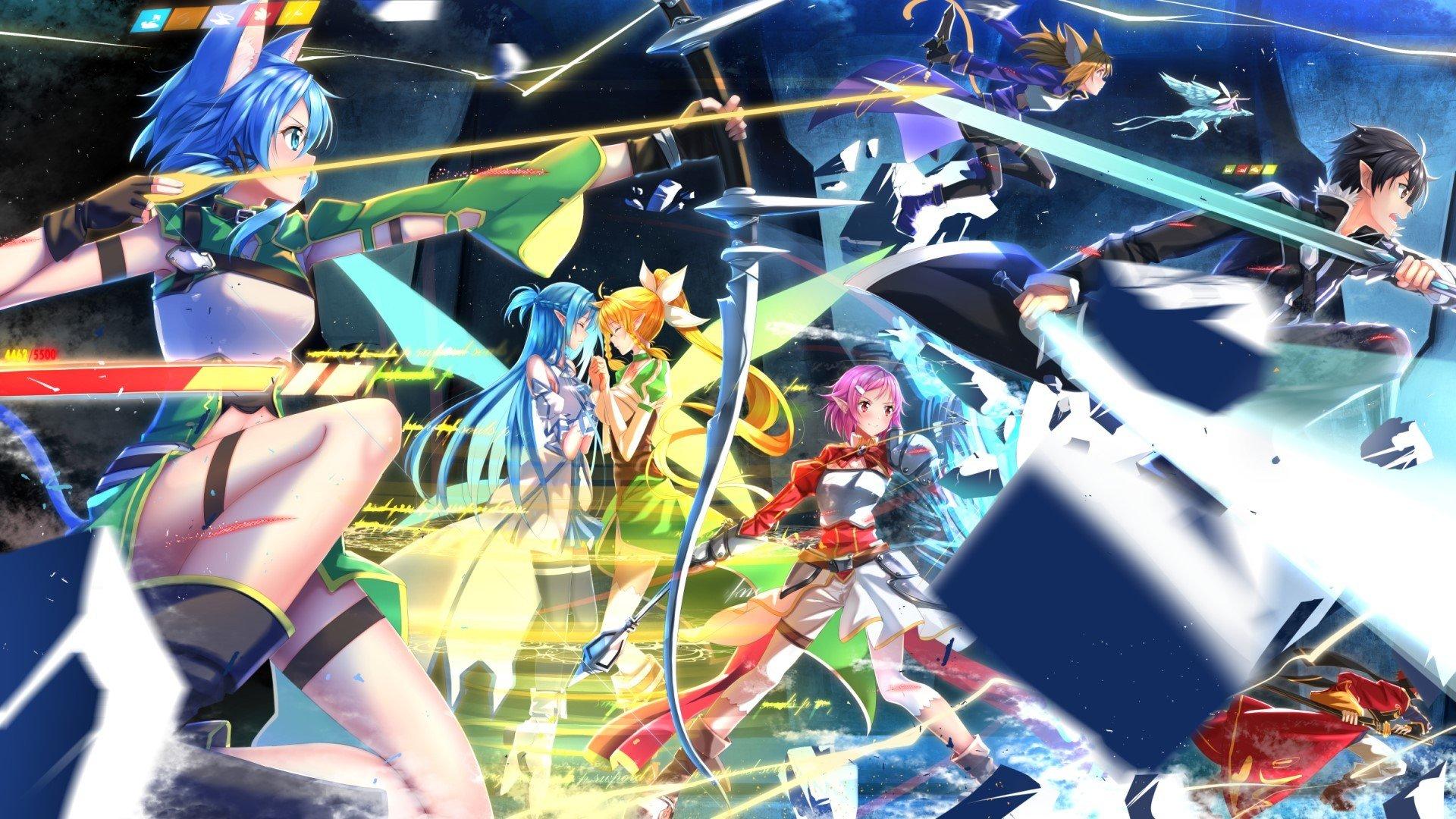 Sword Art Online, Asada Shino, Shinozaki Rika, Yuuki Asuna, Kirigaya Kazuto, Tsuboi Ryotaro, Ayano Keiko, Kirigaya Suguha Wallpaper