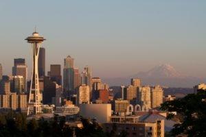 Seattle, Cityscape, Mount Rainier, Space Needle, Sunset