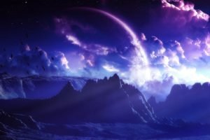 space art, Mountain, Clouds