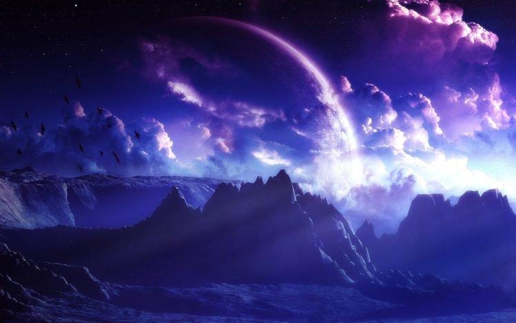space art, Mountain, Clouds HD Wallpaper Desktop Background