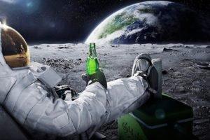 astronaut, Space, Beer, Moon, Earth, Advertisements, Stars, Carlsberg