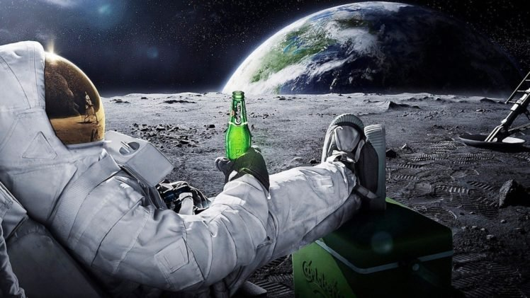 Astronaut Space Beer Moon Earth Advertisements Stars Carlsberg Hd Wallpapers Desktop And Mobile Images Photos